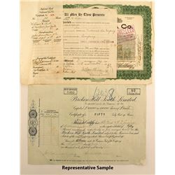Broken Hill South Limited Stock Certificates