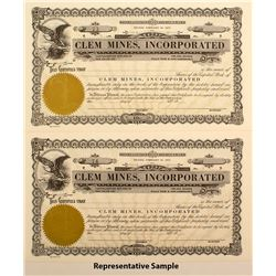 Clem Mines Inc. Stock Certificates (30)