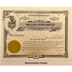 Don-Clare Mining Company Stock Certificates (20)