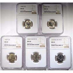 5-NGC GRADED MS-66 JEFFERSON NICKELS