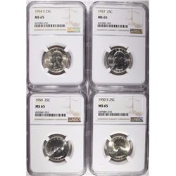 4 WASHINGTON QUARTERS NGC MS-65 1950-P,S, 54-S, 57