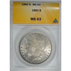 1882 MORGAN DOLLAR, ANACS MS-63