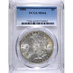 1886 MORGAN DOLLAR, PCGS MS-64