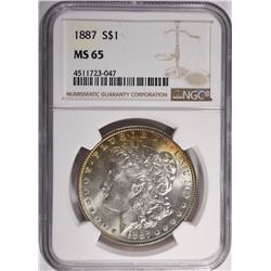 1887 MORGAN DOLLAR, NGC MS-65