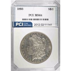 1893 MORGAN DOLLAR, PCI CH/GEM BU SEMI-PL