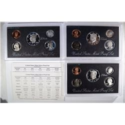 3 U.S. SILVER PROOF SETS: 1994, 1997, & 1998