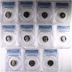 11 PCGS JEFFERSON NICKELS; ALL PR-69DCAM