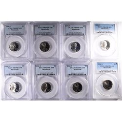 8 PCGS JEFFERSON NICKELS; ALL PR-69DCAM MONTICELLO