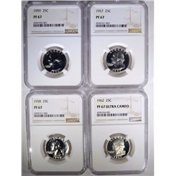 NGC PROOF 67 QTR LOT; 1957, 1958, 1959 & 1962