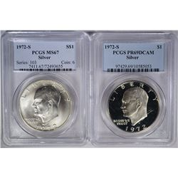 2- PCGS GRADED SILVER EISENHOWER DOLLARS