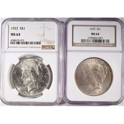 1923 & 1925 PEACE SILVER DOLLARS NGC MS 64