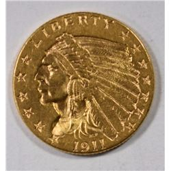 1911 $2.5 GOLD INDIAN CH BU