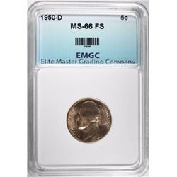 1950-D JEFFERSON NICKEL, EMGC SUPERB GEM BU FS