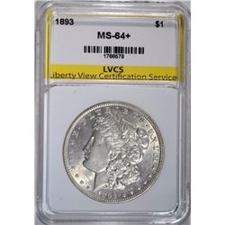 1893 MORGAN DOLLAR, LVCS CH+/GEM BU RARE!