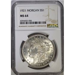 1921 MORGAN DOLLAR, NGC MS-64