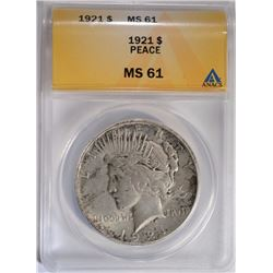 1921 PEACE SILVER DOLLAR, ANACS MS-61