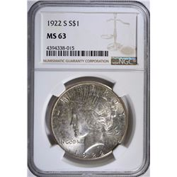 1922-S PEACE DOLLAR, NGC MS-63