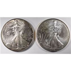 2-1996 AMERICAN SILVER EAGLES, GEM BU