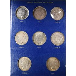 PEACE DOLLAR SET MISSING 1928-P ONLY; 1921 VF
