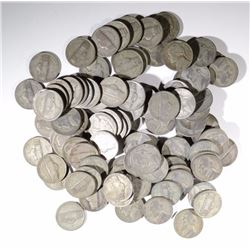 (100) MIXED DATE SILVER WAR NICKELS