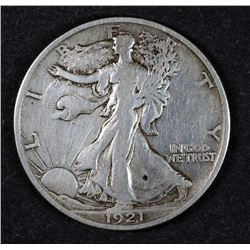 1921-S WALKING LIBERTY HALF DOLLAR, VF -KEY DATE