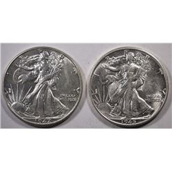 1942 & 45-S WALKING LIBERTY HALF DOLLARS, CH BU