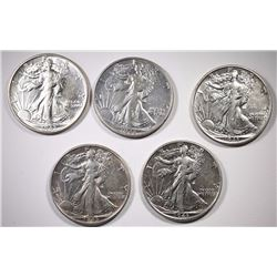 5-1943 WALKING LIBERTY HALF DOLLARS, AU