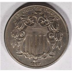 1867 SHIELD NICKEL AU/BU