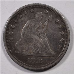 1876 SEATED LIBERTY QUARTER XF