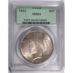 "1922 PEACE SILVER DOLLAR, PCGS MS-64 ""OGH"""
