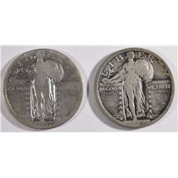 1919 VF & 1927-S GOOD STANDING LIBERTY QUARTERS