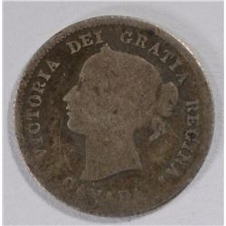 1875 H CANADIAN 5 CENT SILVER G/VG REVERSE IS FINE