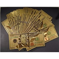 "25 PCS ""$100 GOLD"" NOTES MADE FROM GOLD LEAF"