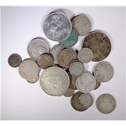 80% FOREIGN SILVER COINS VARIOUS SIZES