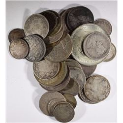 80% SILVER WORLD COINS one is holed