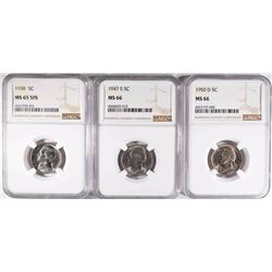 3-NGC GRADED JEFFERSON NICKELS