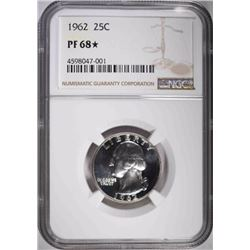 1962 WASHINGTON QUARTER, NGC PF-68*