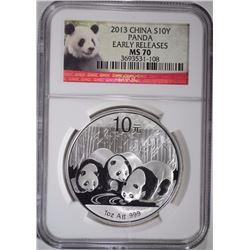 2013 CHINESE SILVER PANDA, NGC MS-70 EARLY RELEASE