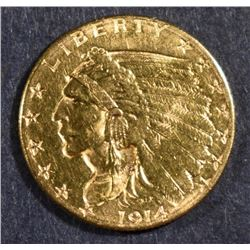 1914-D $2.50 GOLD INDIAN, CHOICE BU