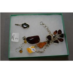 Selection of brand new sterling silver and gemstone jewellery including red cherry amber pendant, ri