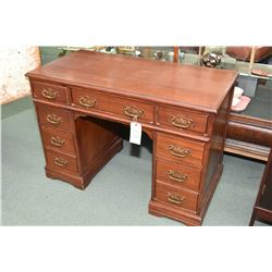 Antique double pedestal mahogany knee hole desk