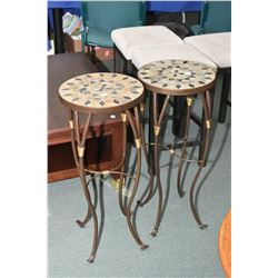 "Pair of modern matching metal and tile fern stands, 30"" in height"