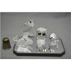 Selection of Swarovski crystal including a parrot, an owl, a sparrow and a pelican with small chip o