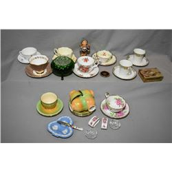 Selection of china tea cups and saucer including Royal Albert, Queen Anne, Aynsley, Paragon, Nippon
