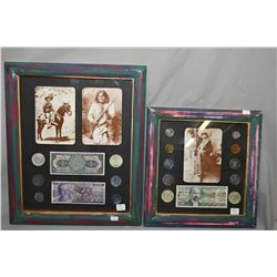Two framed Mexican photo and currency collages