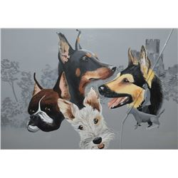 "Framed gouache paper portraits of different breeds of dogs signed by artist J. Mathews '89, 19"" X 27"