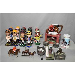 Selection of horse racing collectibles including Bobble heads, mugs, trinket boxes etc.
