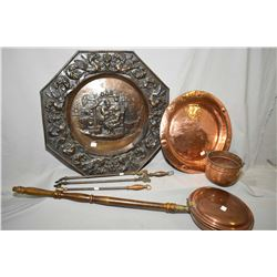 "Selection of vintage copper including hand hammered chargers, bass relief wall hanging 23"" in diamet"