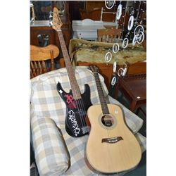 An Academy ACG 41N acoustic six string guitar and a Vantage electric bass
