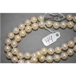 "Ladies 16"" cultured pearl necklace with 14kt white gold clasp"